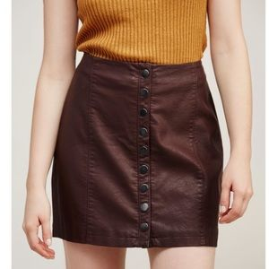 Free People Oh Snap Vegan Leather Skirt Button 6